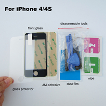 Black Outer Glass Lens Cover Replacement Parts For iphone 4 4s repair kit & Adhesive & tempered glass(China (Mainland))