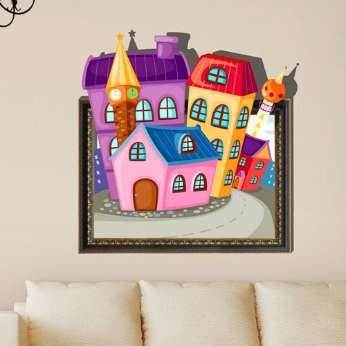 Free Shipping cartoon house 3d printer removable wall mural nursery daycare decoration art decals vinyl stickers home decor(China (Mainland))