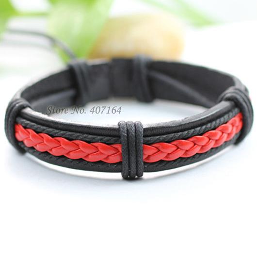 SF87- bright red ethnic jewelry handmade genuine braided wrap rope leather bracelet man & women - SunFlower Trade Co.,Ltd store