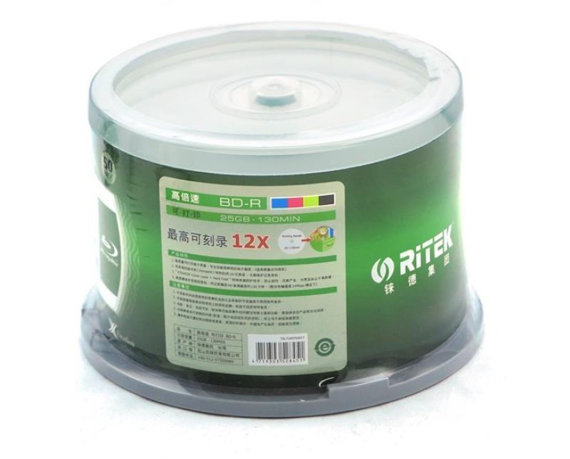 50 Pieces Ritek 25GB BD-R 2-12X Speed A+ Grade Printable Blu ray Blank BDR Disc(China (Mainland))