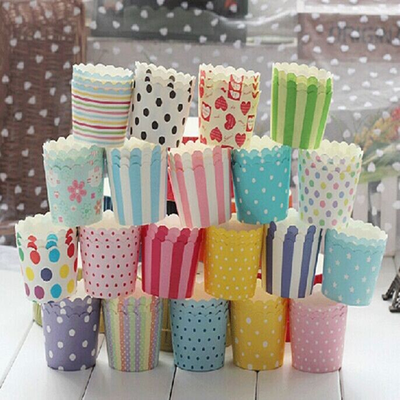 50pcs colorful flower Paper Cupcake Cake Muffin Cup Mold Cases Wedding Party Valentine Decor Stand Wrapper Toppers 5.5cmx6cm(China (Mainland))