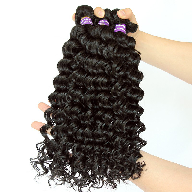 Deep Wave Brazilian Virgin Hair 100% Human Hair Weave Bundles Hair Weaving Extensions Natural Color 10″-28″ CARA