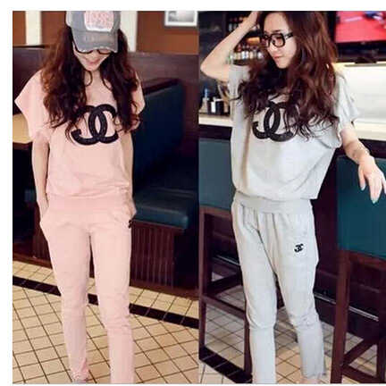 New 2015 Brand Women Clothing Sets Tracksuit Sport Casual Clothes Sports Wear Top Sweatpants