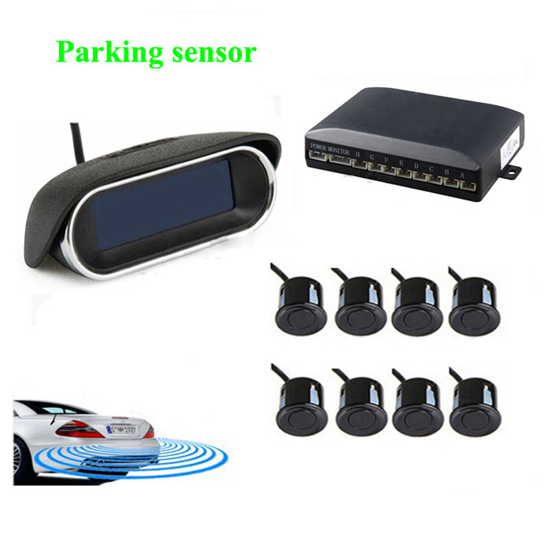 Fashion Car parking system with 8 sensors 6 color LCD display buzzer alarm styling parking sensor parking system free shipping(China (Mainland))