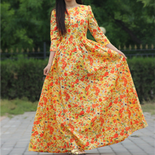 2015 women summer style beach print dress cotton maxi dresses 3/4 sleeve o-neck sexy casual cute party(China (Mainland))
