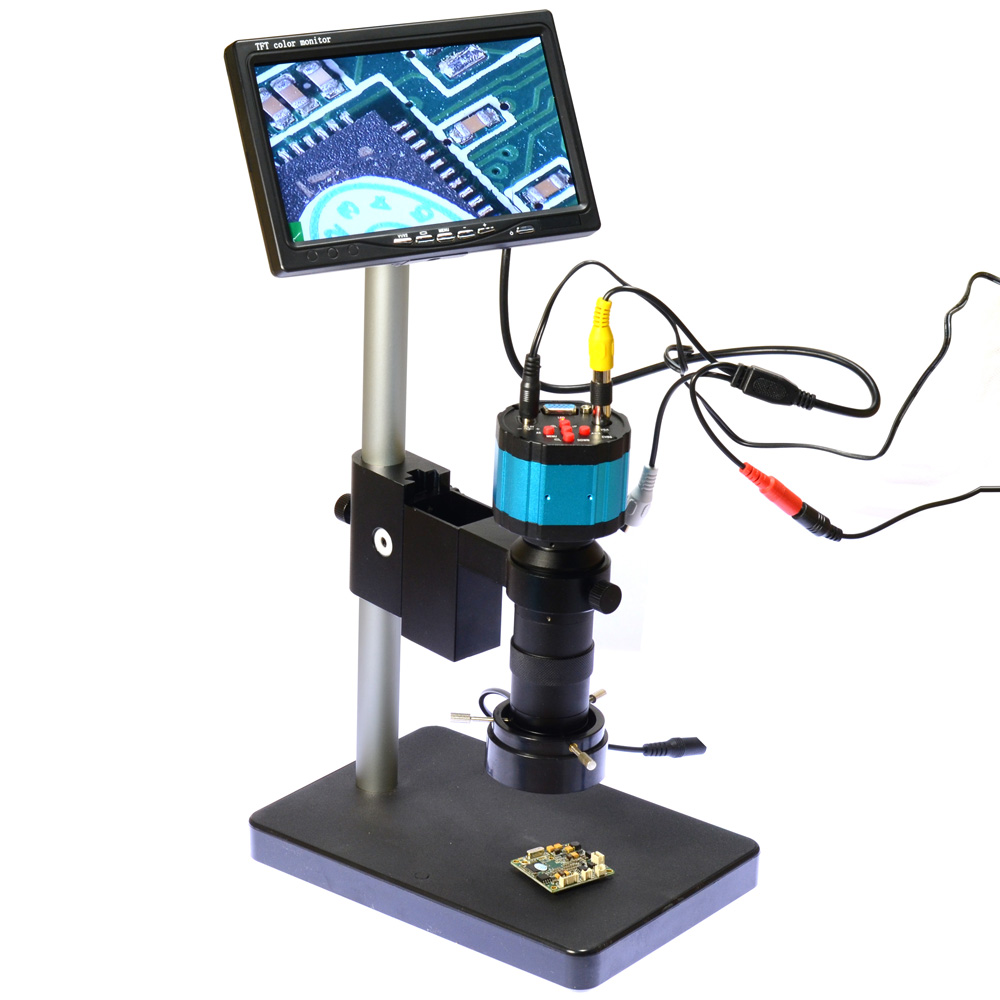 "2.0MP HD 2in1 Industry Digital Microscope Camera + 7"" LCD Monitor + Stand Holder + C-Mount Lens + 40 LED Ring Right(China (Mainland))"