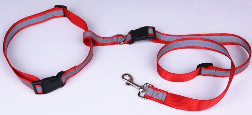 New Reflective Nylon Pet Collar and Leash Set Outdoor Running Adjustable Dog Traction Belt(China (Mainland))