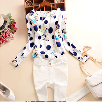 DSGS 2016 Summer Casual Chiffon Shirts Sexy Deep round-Neck Women Blouses Blue White Long Sleeve Solid Tops Plus Size Loose