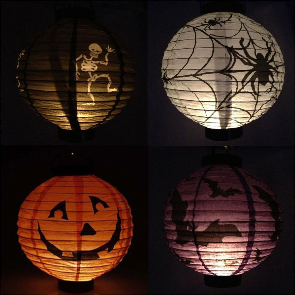 WSFS Wholesale 2 X 4x Pumpkin Spider Bat Skeleton Lamp Paper Lanterns Decoration Party(China (Mainland))