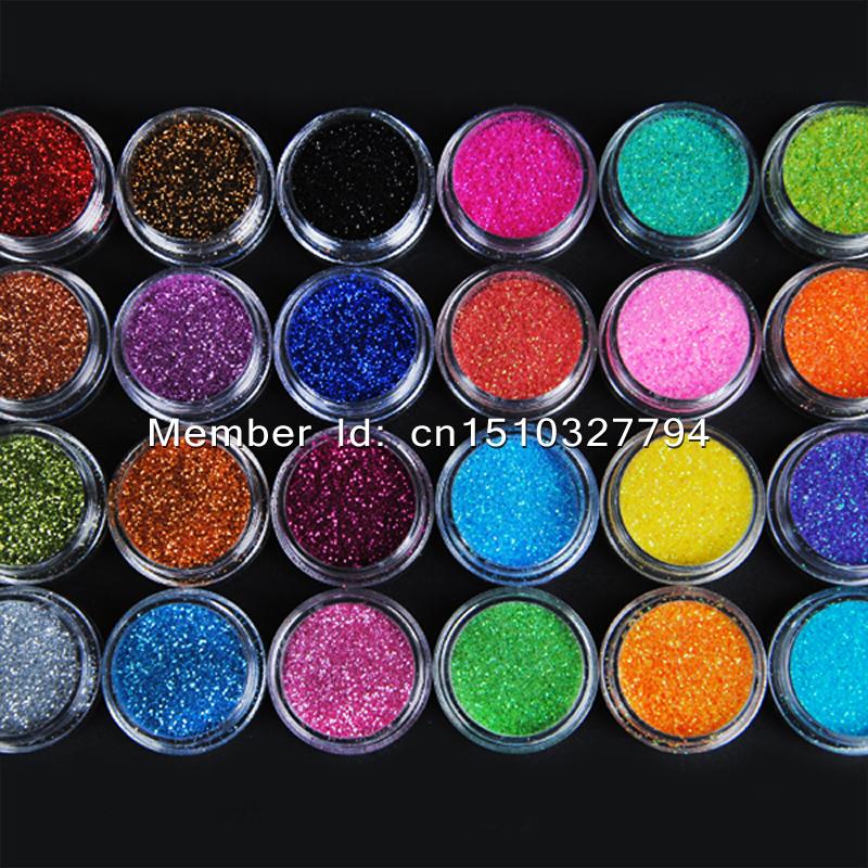 Hot Sale 24 Color/set random Nail Glitter Powder with box Decor Nail Art Powder Dust Bottle Set #07free shipping(China (Mainland))