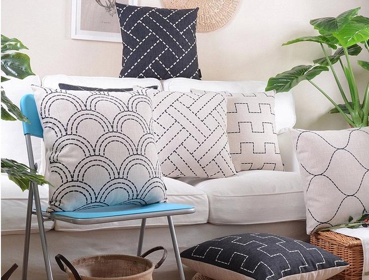 18 black white geometric cotton linen cushion cover ikea sofa decor throw pillow chair car. Black Bedroom Furniture Sets. Home Design Ideas