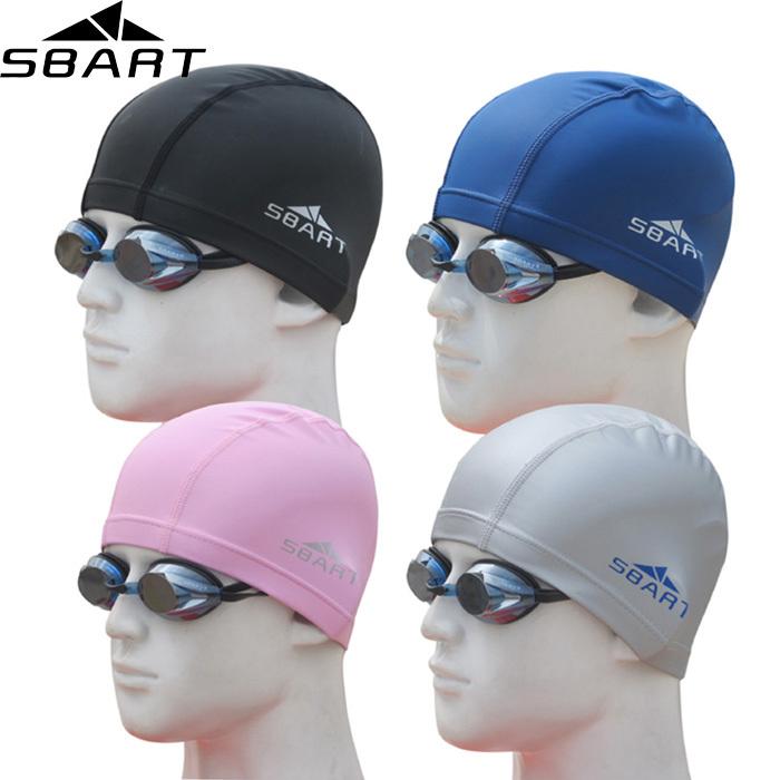 SBART Swimming Cap For Women Men PU Fabric Waterproof Bathing Diving Swim Cap Hat Protect Ear Head To Swim Brand High Quality N(China (Mainland))