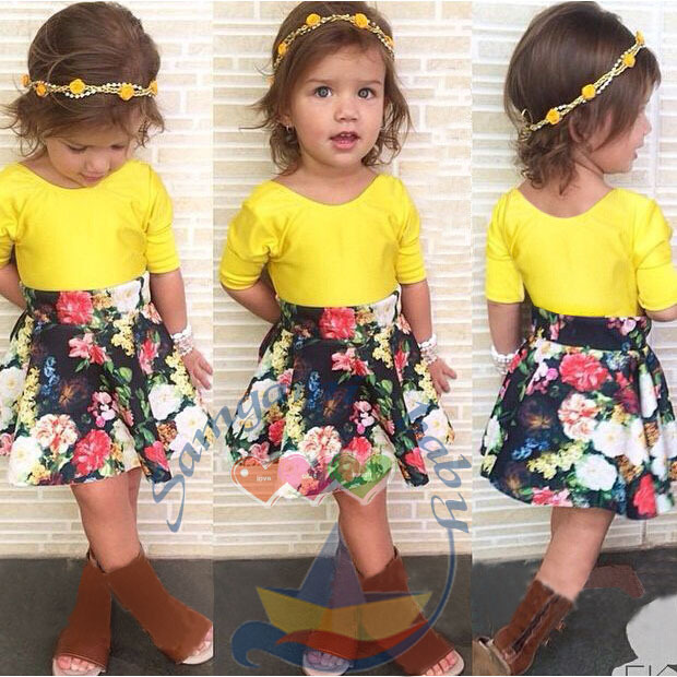 2015 Summer Girl Dress Set Brand Baby Girls Clothing Sets Yellow Top Blouses+Flower Skirt Suit Kids Wear C10 - SNOW LOVE store