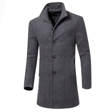 Free Shipping 2015 Fashion British Style Solid Woolen Coat Men Winter Warm Overcoat Worsted Casual Wool Long Jacket 13M0324(China (Mainland))