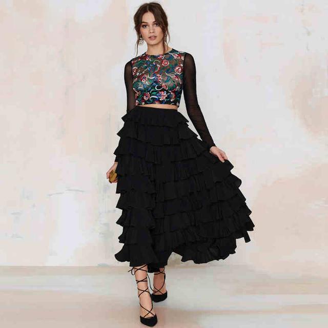 [TWOTWINСтиль] 2016 весенняя мода торт каскадных воланами юбки высокая талия элегантный ...