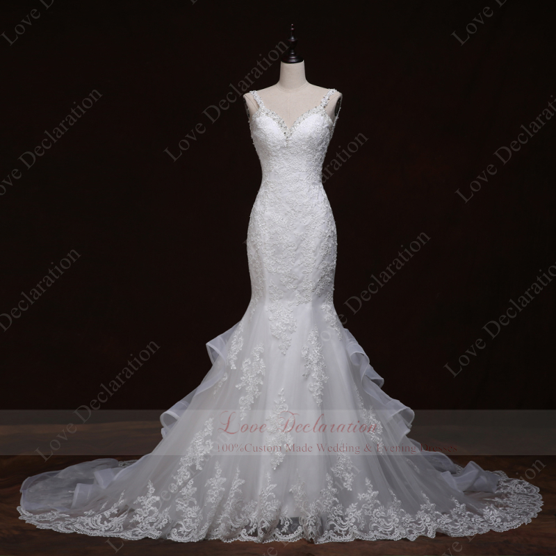 Real Photos Plus Size Sweetheart Lace Applique Mermaid Wedding Dresses Bride