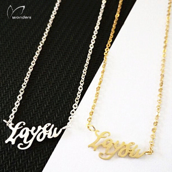 30pcs Gold Silver Chain Statement Jewelry Gold Plated Love you Pendant Necklace Stainless Steel Chain Necklace For Women