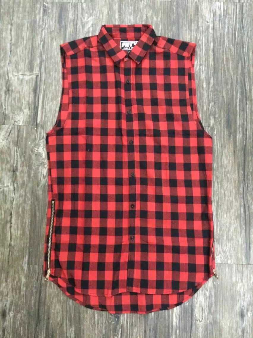 The new 2015 sleeveless Europe classic grid vest Plaid zipper red blue tank top hip hop men workout shirts mens fishnet tank(China (Mainland))