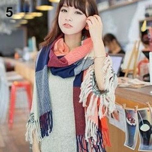 Fashion Women Winter Warm Soft Artificial Wool Scarf Plaid Knit Long Wrap Shawl Pashmina 13 Colors(China (Mainland))
