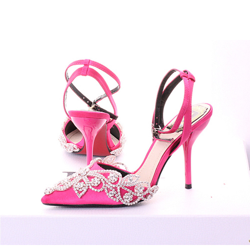 Rose pink summer wedding shoes thin heels bridal shoes ...