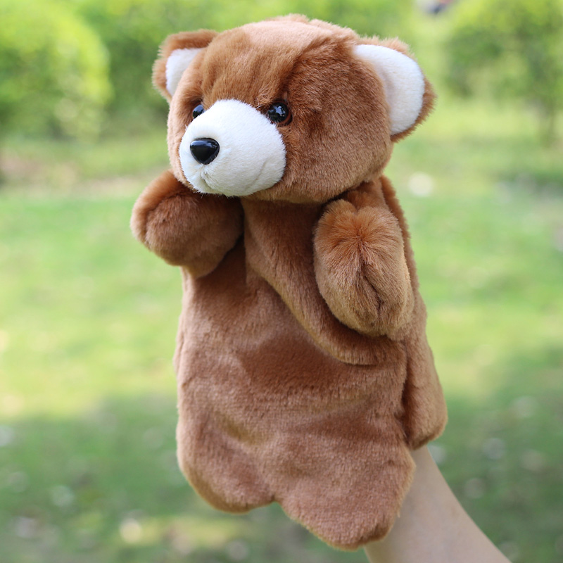 Plush hand puppet bear doll toys baby toys plush doll toys Parent-child early childhood toys animal hand puppets for kids(China (Mainland))