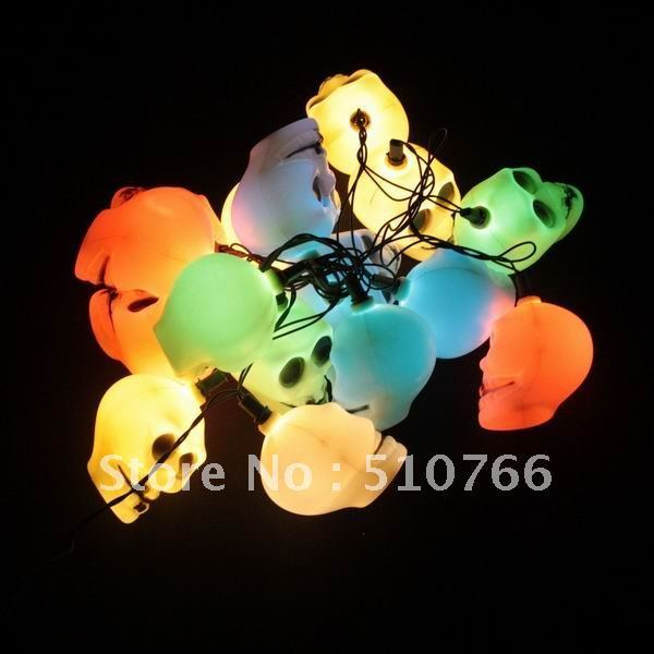 16 PCS Skelton Skull Head Horror Halloween Light Lamp Colorful New