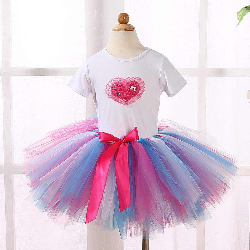 Fashion Children Toddler Girls Boutique Clothing Sets Outfits Girl T-shirt Tops +3 Layer Tutu Skirts Sets Kids Baby Girl Clothes(China (Mainland))