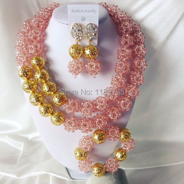 Fashion Nigerian African Wedding Beads Jewelry Set ,Crystal Necklace Bracelet Earrings Set A-3476<br><br>Aliexpress