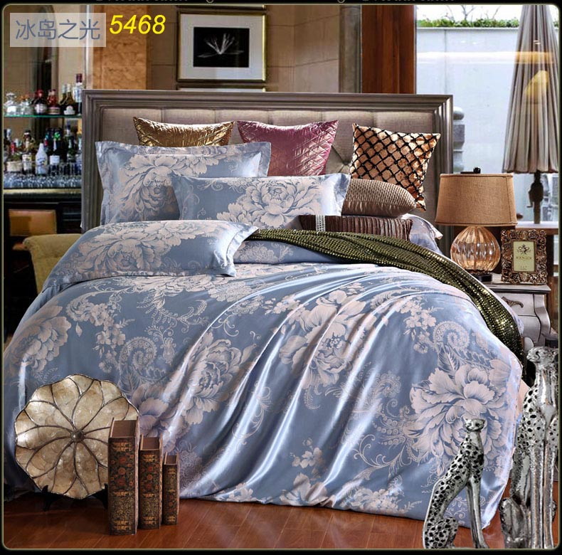 Tribute silk bedding set jacquard European style satin silk bed clothes quilt cover bed sheet pillowcases 4pcs bed set 5468(China (Mainland))