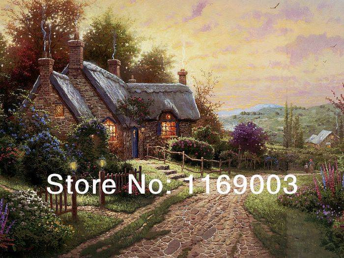 Realistic decorative white church artwork of Thomas Kinkade Famous oil painting on canvas living room home deco free shipping(China (Mainland))
