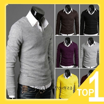 Hot Sale Men 2014 new fashion retro cotton cultivation  V neck bottoming cardigan sweater Y2467