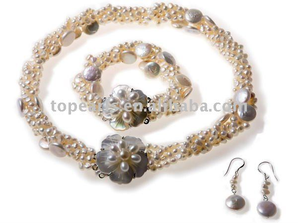 Topearl Jewelry Nugget Pearl Twisted Pearl Jewelry Set with Flower Shell Clasp TPN19