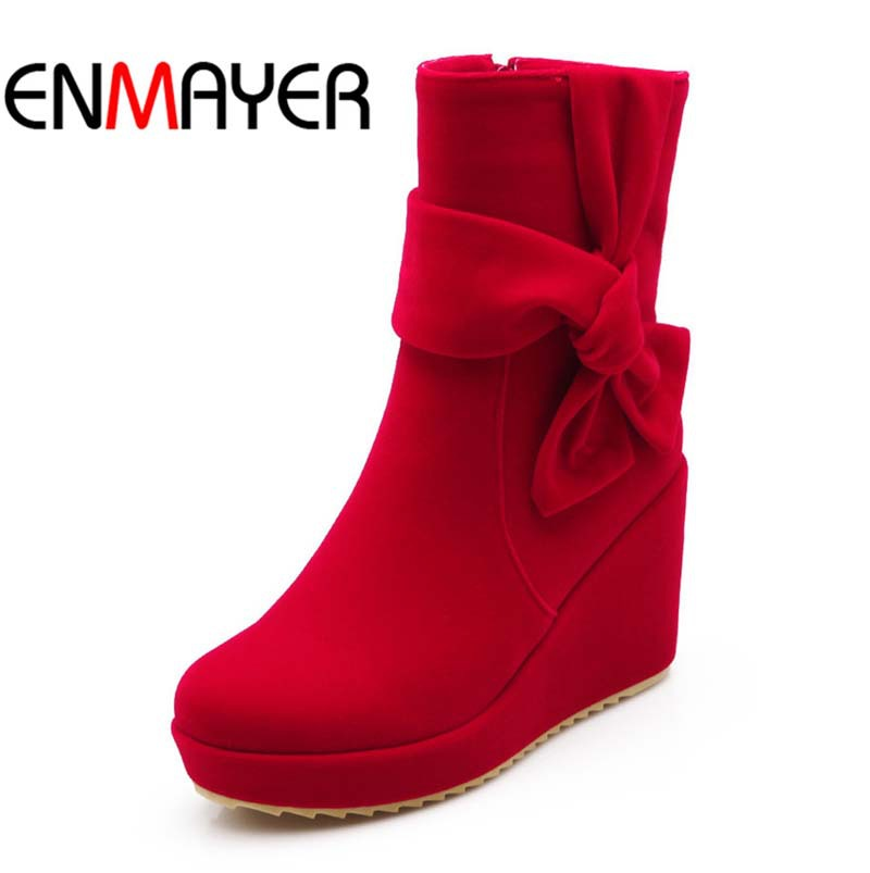 ENMAYER black  Wedges Shoes Women Boots Red wedding platform Bowtie Flock Ankle Boots Fashion High Boots New Warm Snow Boots<br><br>Aliexpress