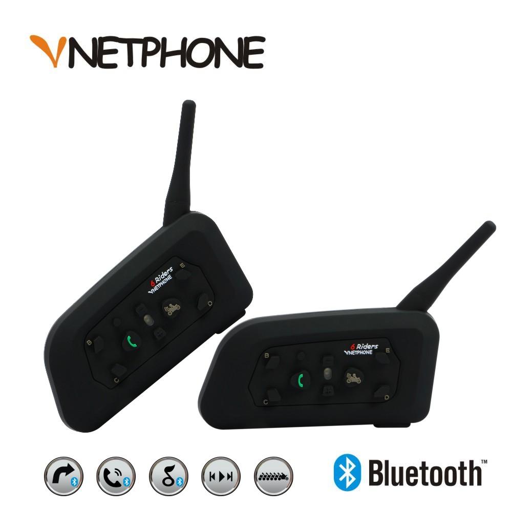 2 x1200M Bluetooth Intercom Headset 6 Riders Handsfree V6 Waterproof Motorcycle Interphone Support Stereo Music/Audio - Shenzhen Netphone Technology Co., Ltd. store