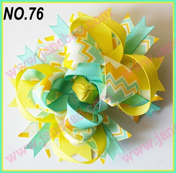 free shipping  2017 Newest  30pcs 4.5'' chevron hair bows Girl boutique hair clips Fashion baby hair bows