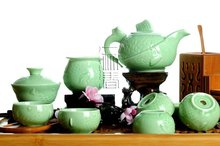 8pcs Super Deluxe Tea Set, Double-wall Cups,Fish Porrtery Teaset,TL04, Free Shipping