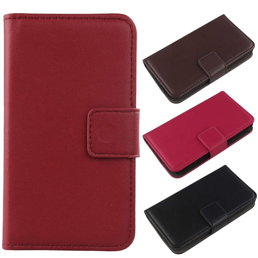 Exyuan Book Style Genuine Leather Cover With Card Slot Cell Phone Flip Case For Kazam Trooper 2 4.5(China (Mainland))