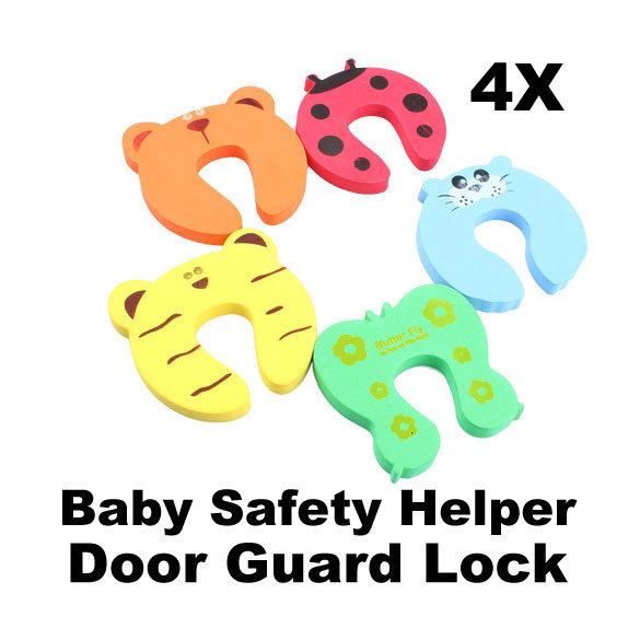 4pcs Baby Helper Safety Door Stop Finger Pinch Guard Lock E5M1