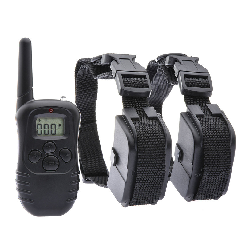 300 Meters Remote Adjustable Dog Training Collar With LCD Display 100LV Shock + Vibra For 1 or 2 Dogs Electronic Trainer(China (Mainland))