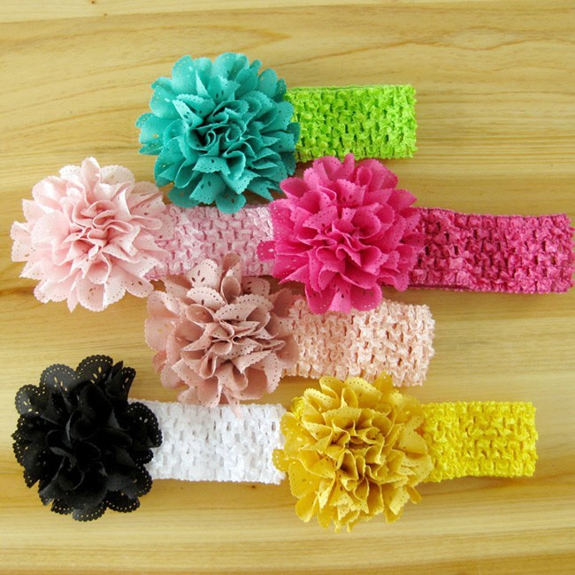 2000pcs/lot Wholesale Hot Sale Handmade 8cm Fabric Flower Crochet Baby Headband Elastic Kids Head Band Baby Girl Headwraps(China (Mainland))