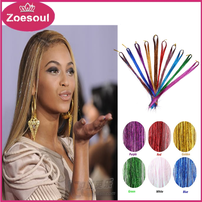 Wholesale Synthetic Hair Extensions Rainbow BellaVia Tinsel Hair Extension Bling String 3D Hairpieces 10PCS + 1PC Woolden Hook(China (Mainland))