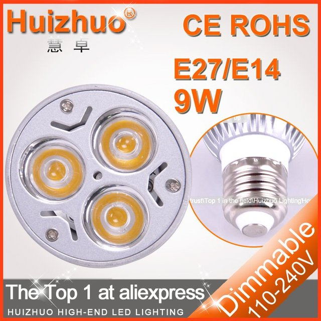 [Huizhuo Lighting]Free Shipping 500X High power CREE led e27 3x3W 9W 220V Dimmable led Light/led bulbs