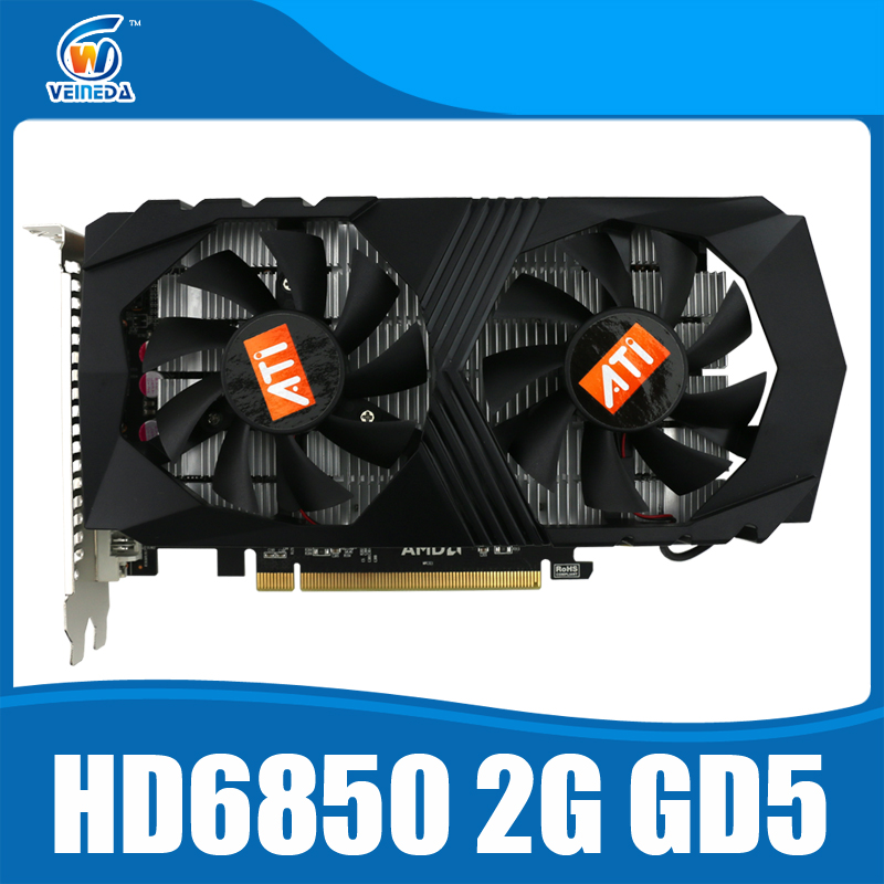 HD6850 2GB Original graphic card ATI Radeon HD6850 2GB GDDR5 Game Card HDMI VGA DVI port for desktop.(China (Mainland))