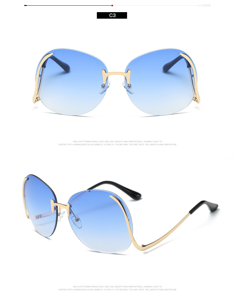 Fashion Vintage Round Rimless Clear Oversized Sunglasses Women Brand Designer Sun Glasses Metal Frame Retro Gradient Shades M501