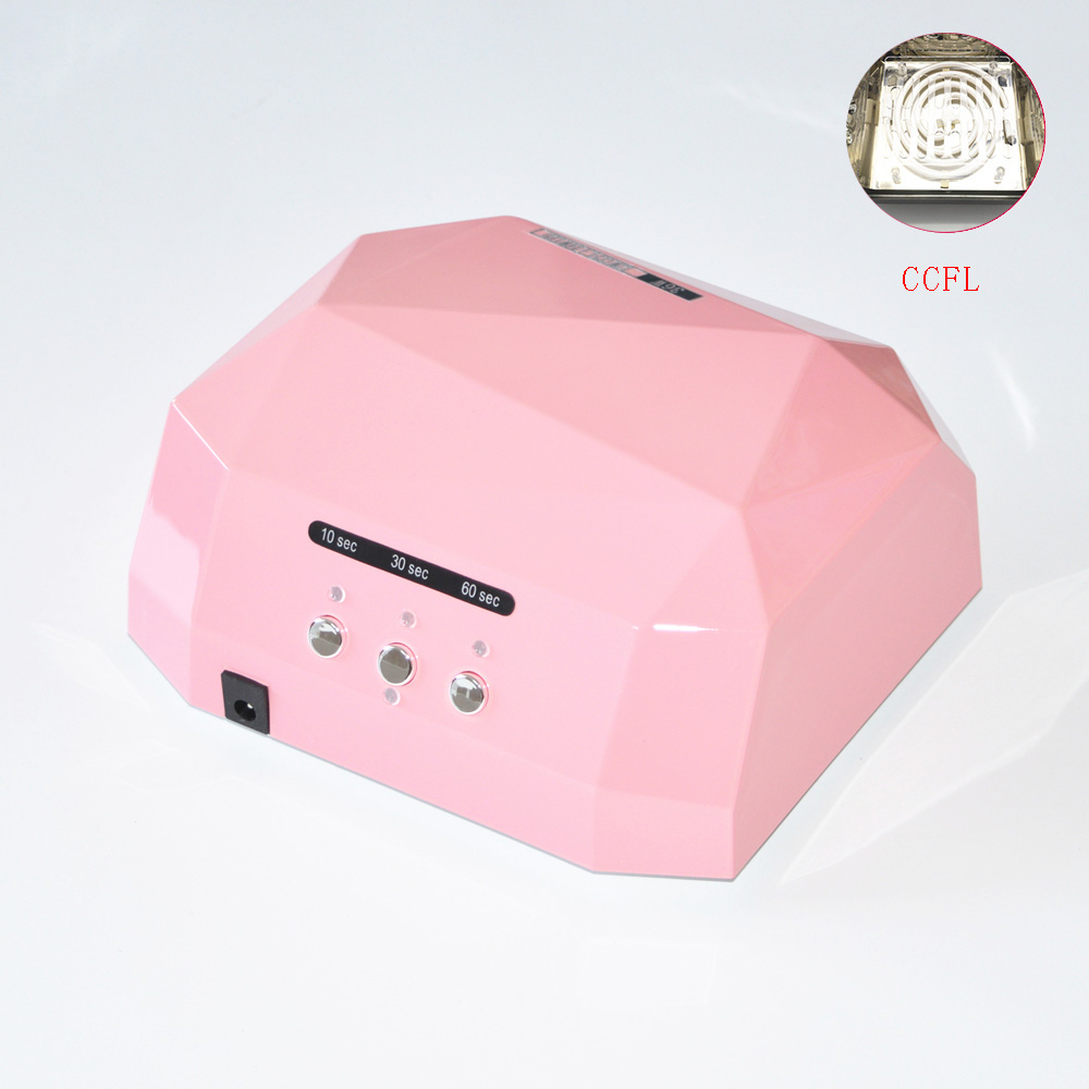 Free Shipping 36W UV Lamp LED Nail Dryer Light CCFL Diamond Shaped Best Curing Machine for UV Gel Nail Polish Nail Art Tools(China (Mainland))