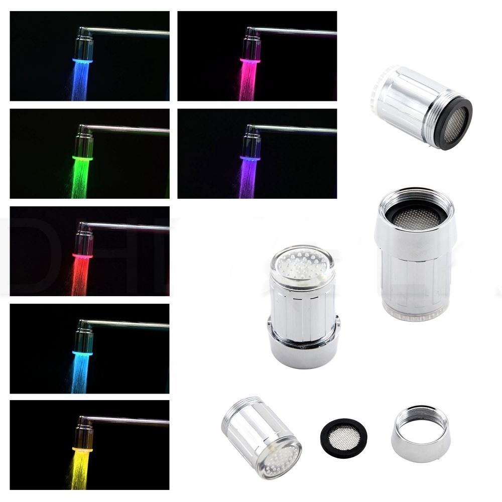 7 Colors Led Faucet Changing Water Shower Head Kitchen Bathroom Multicolor Glow Led Light