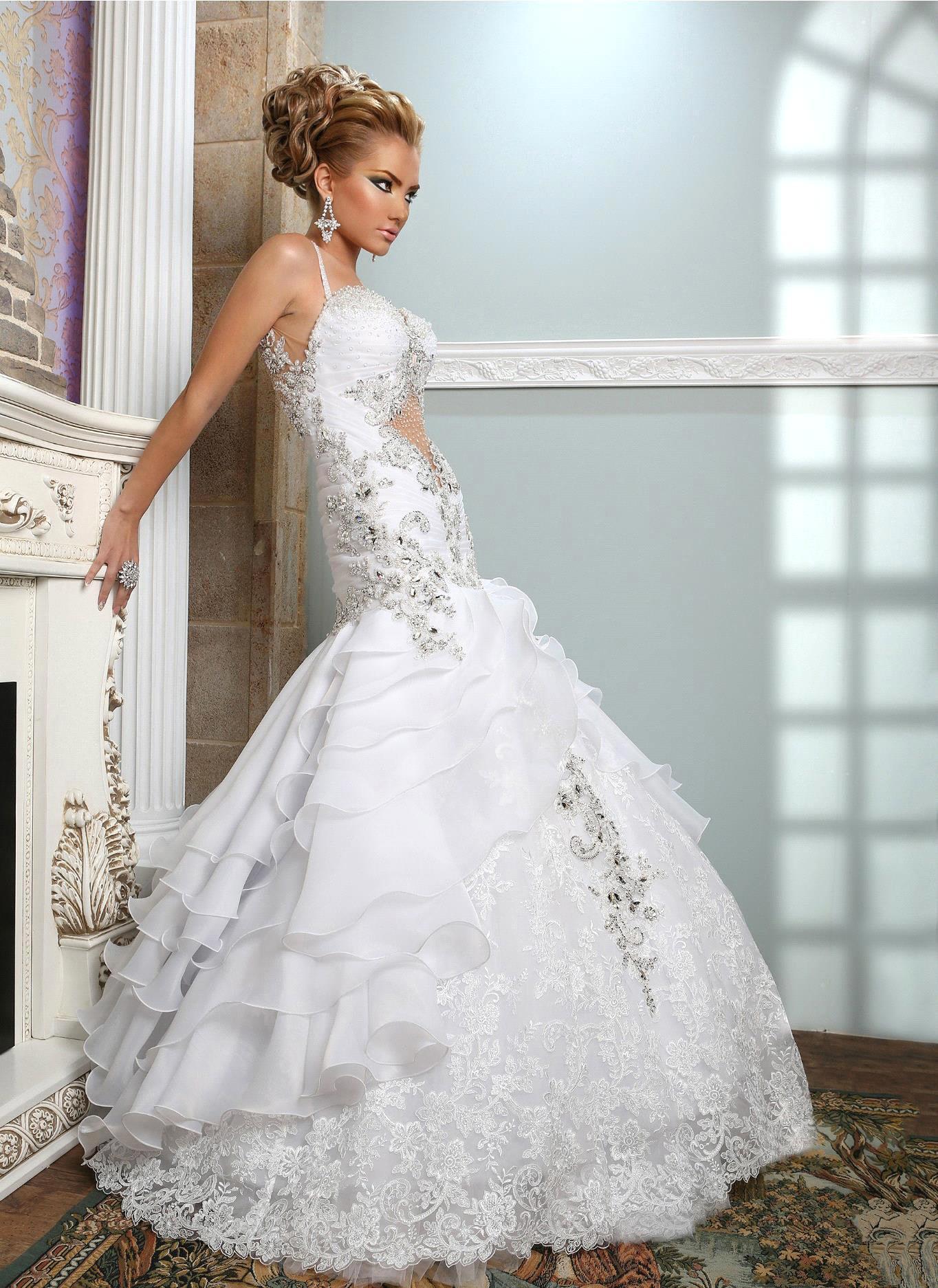 Vestido De Noiva New Luxury 2015 Mermaid Beaded Cheap