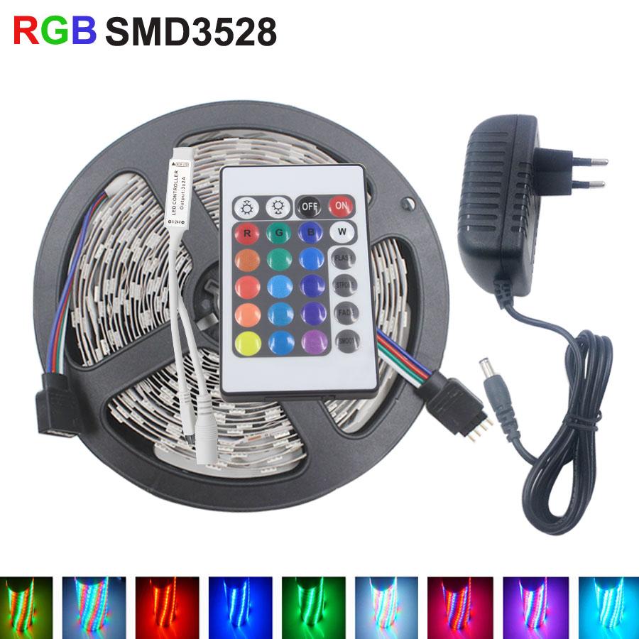 RGB LED strip3528 60pcs/m 5M Strip LED Light RGB DC12V Flexible 24KEY IR Remote Controller 12V 2A Power Adapter led strip kit(China (Mainland))