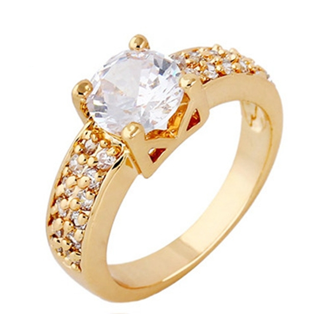 Aliexpress Buy Double Rows Micro Crystal Womens Wedding Solitaire Ring