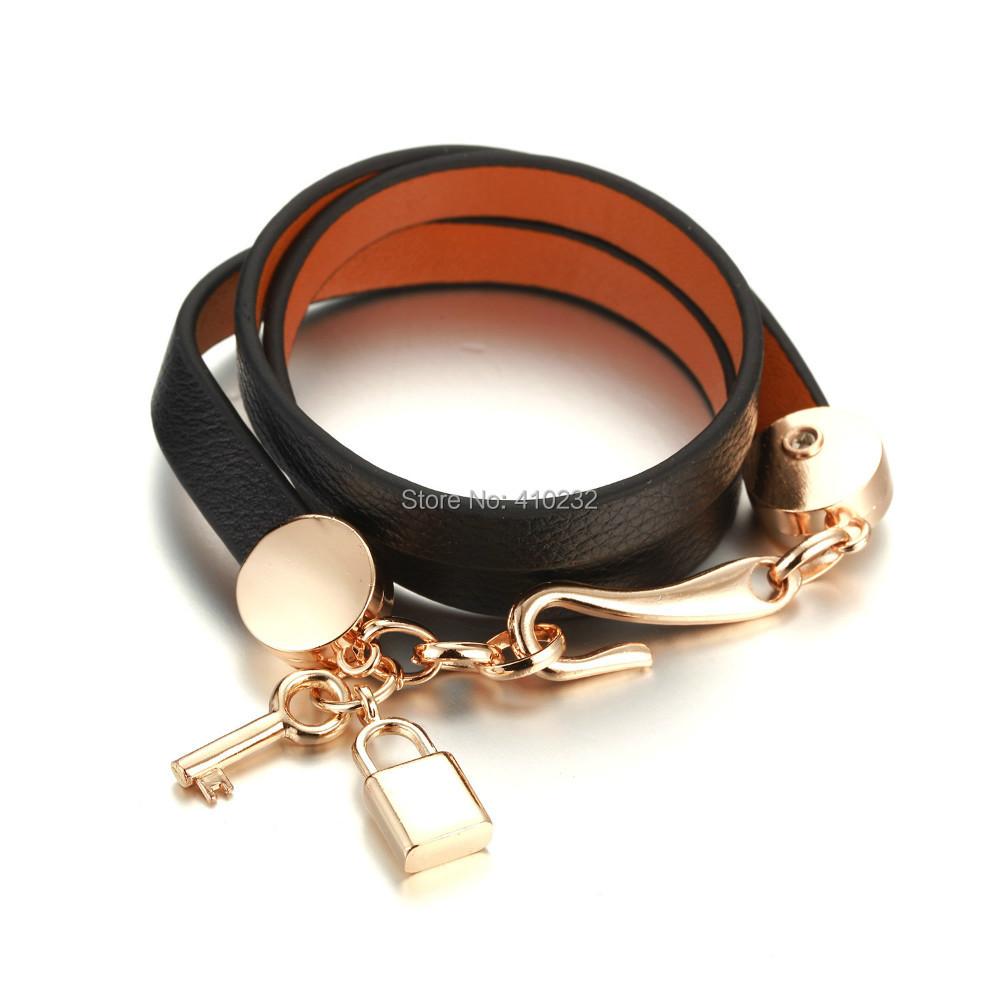 fashion jewelry genuine leather bracelet 2014 new women key locket charm bracelets - Sunshine Jewelry Co.,Ltd(min order 15USD store)
